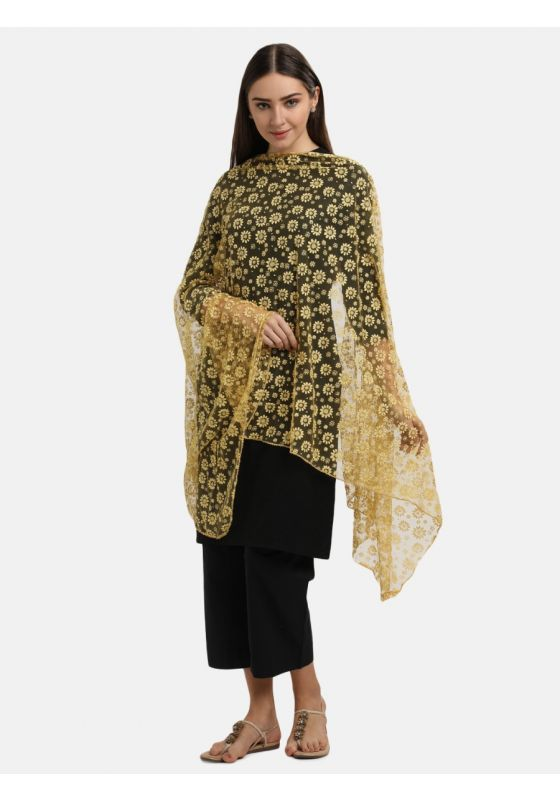 Yellow Floral Dupatta