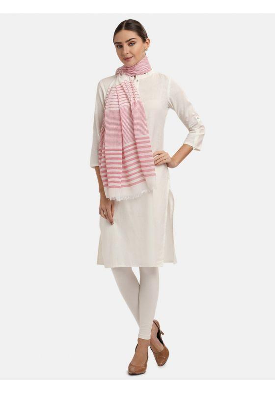 Pink Striped Dupatta