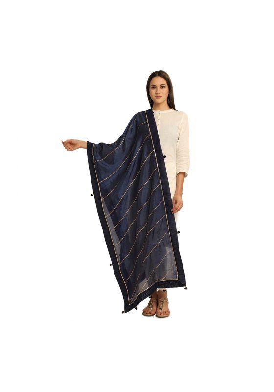 Dark Blue With Gold Striped and Gota Patti Border with Tassles Art Silk