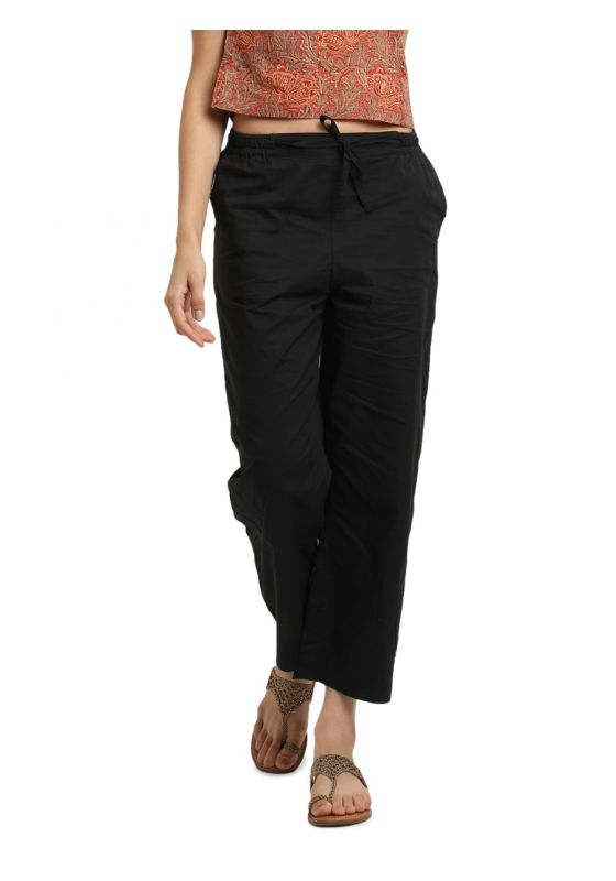 Black MulMul Cotton Elasticated Parallel Pant with drawstings and pockets