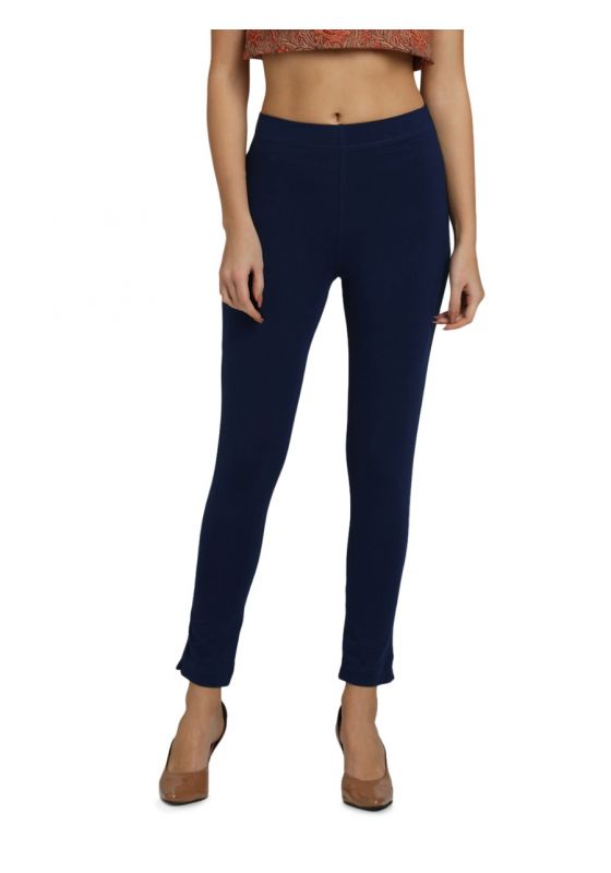 Bright Navy Blue Ankle length Knit Cotton Lycra Pant with Elastic Waistband and Pocket