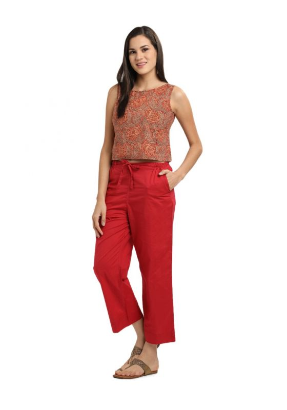 Red Cotton MulMul  Elasticated Parallel Pant with drawstings and pockets