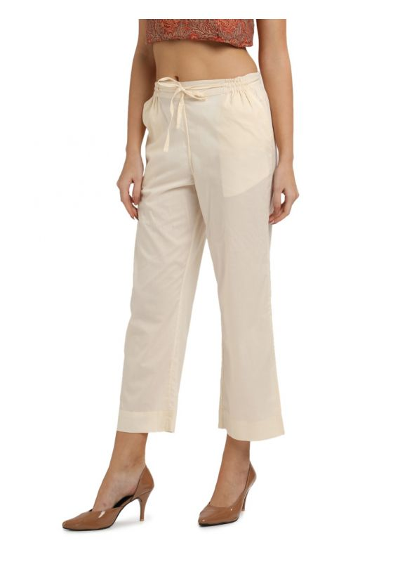 Cream Cotton MulMul Elasticated Parallel Pant with drawstings and pockets