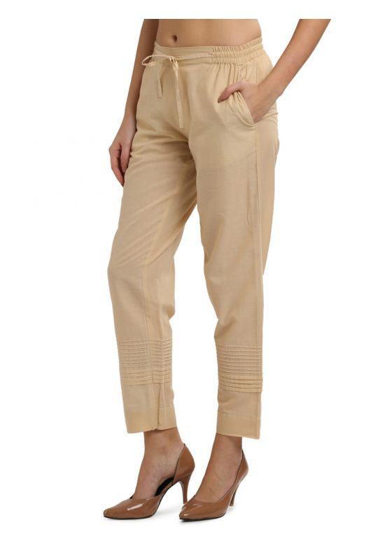 Morrio Beige Straight Fit Cotton Pants with Pleats at the bottom elastic ,waistband with drawstrings and Pocket for Women