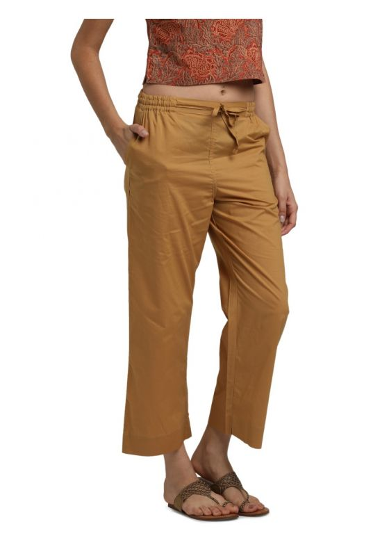 Beige  MulMul Cotton Elasticated Parallel Pant with drawstings and pockets
