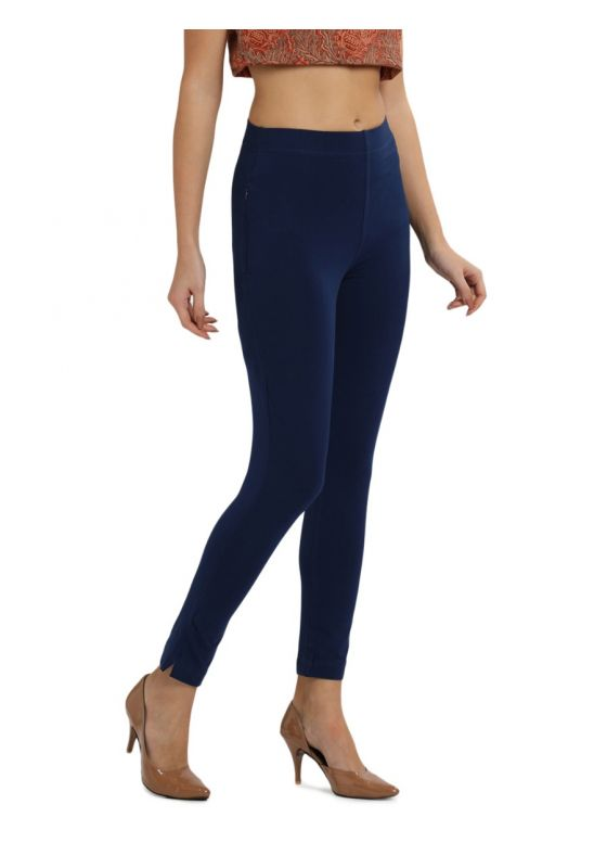 Bright Navy Blue Ankle length Knit Cotton Lycra Pant with Elastic Waistband and Pocket-M