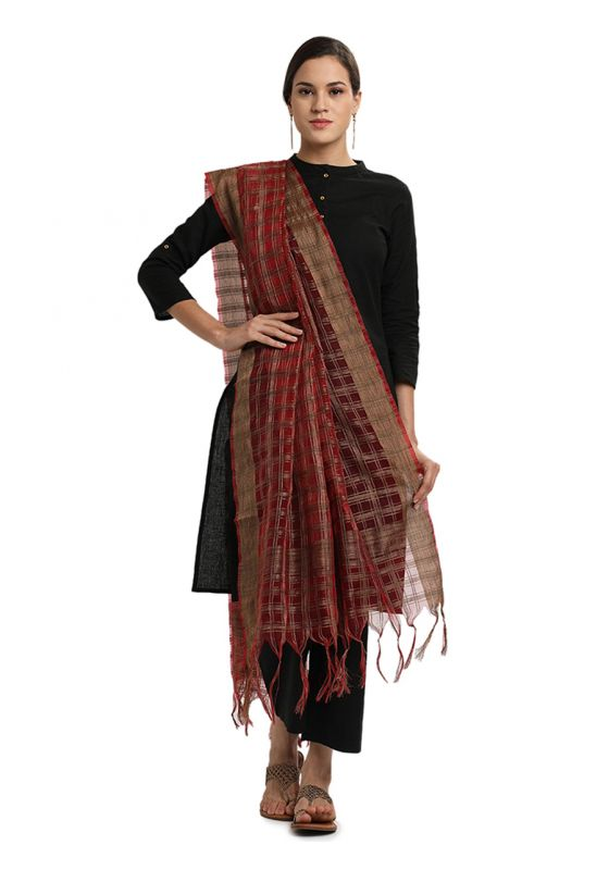 Red with Beige Cheqered Organza Dupatta