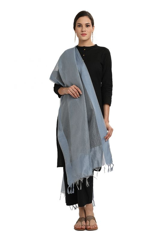 Grey Horizontal Strpied Cotton Art Silk Dupatta for Women