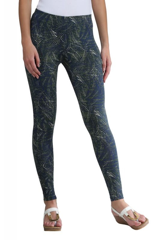 printed ankle lenght leggings aqua blue green design