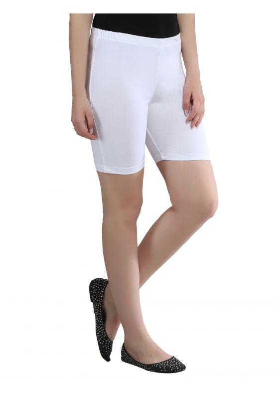 white cotton lycra stretchable comfortable shorts