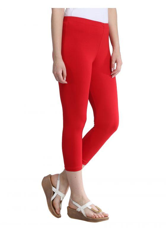 bright red cotton lycra comfortable soft stretch capri