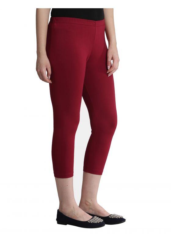 maroon cotton lycra comfortable stretch capri