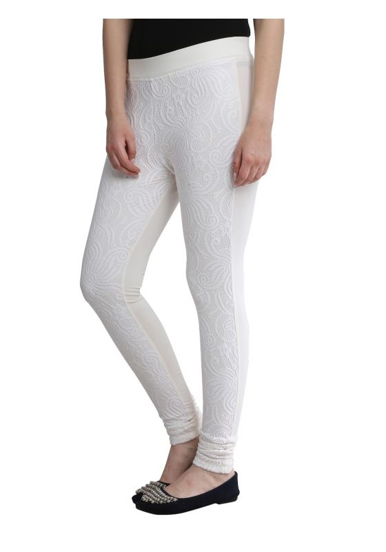 Lace Ankle Length Legging Off White comfortable soft design