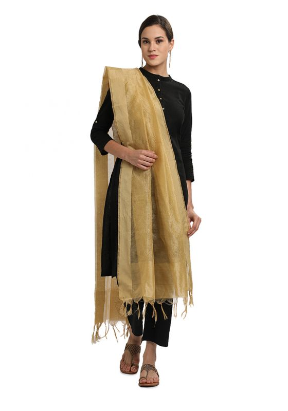 Beige Horizontal Strpied Cotton Art Silk Dupatta for Women