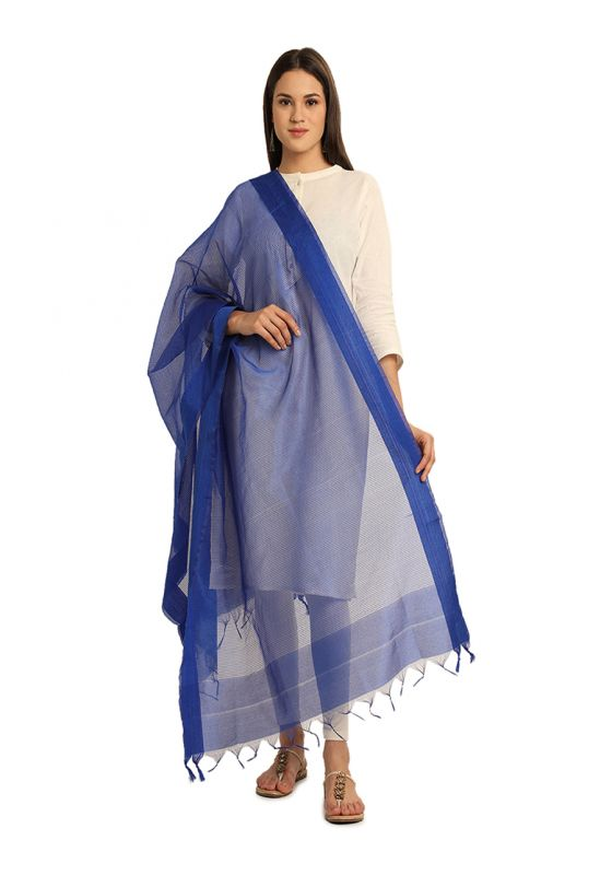 Blue Horizontal Strpied Cotton Art Silk Dupatta for Women