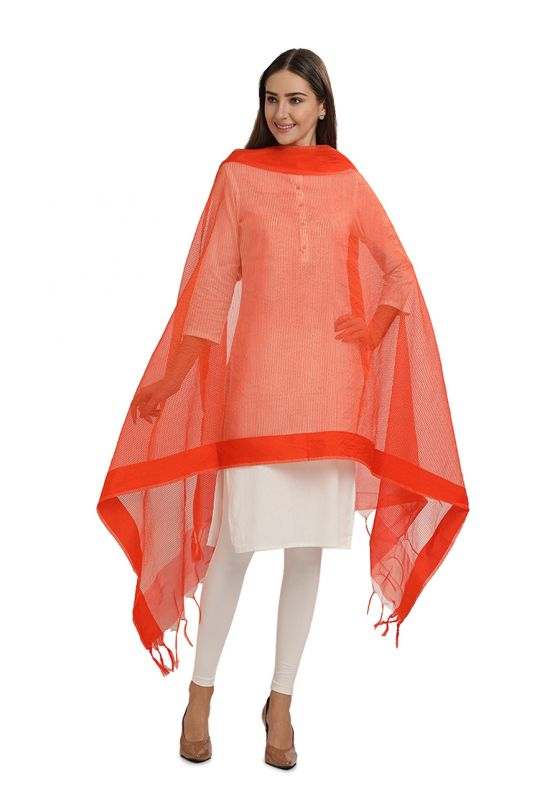 Orange Horizontal Strpied Cotton Art Silk Dupatta for Women