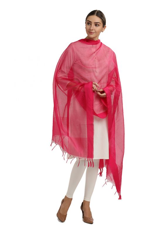 Pink Horizontal Strpied Cotton Art Silk Dupatta for Women