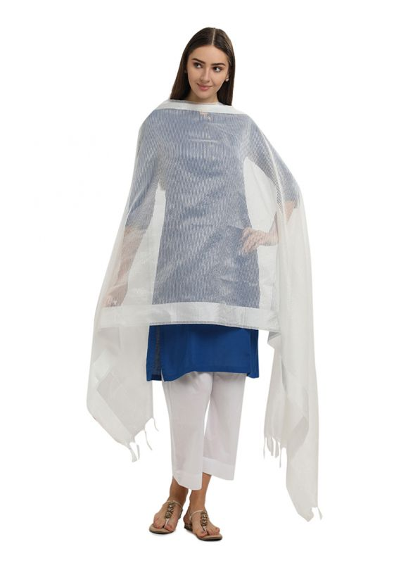 White Horizontal Strpied Cotton Art Silk Dupatta for Women