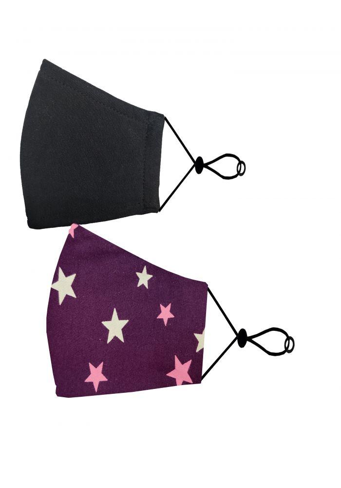 Purple Star Print Kids Cotton Unisex Face Mask ( 2 pieces)-Multi