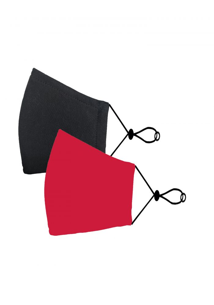 Red & Black Kids Cotton Unisex Face Mask ( 2 pieces)-Red